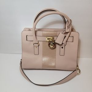 Michael Kors Chain Pink Metallic Hamilton Handbag